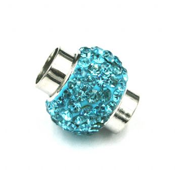 7mm - 17mm*14mm Turquoise stone pave crystal magnetic clasps - rhodium-07
